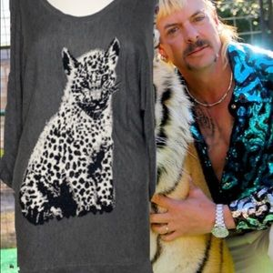 White House Black Market snow leopard sweater M